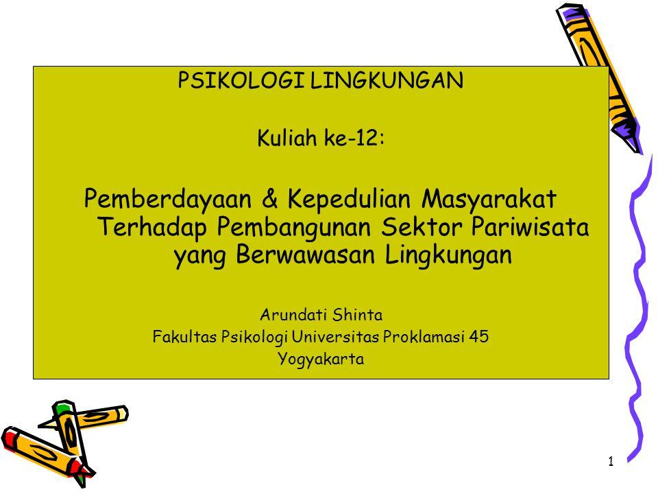 1 PSIKOLOGI LINGKUNGAN Kuliah ke-12: Pemberdayaan & Kepedulian Masyarakat Terhadap Pembangunan Sektor Pariwisata yang Berwawasan Lingkungan Arundati Shinta Fakultas Psikologi Universitas Proklamasi 45 Yogyakarta