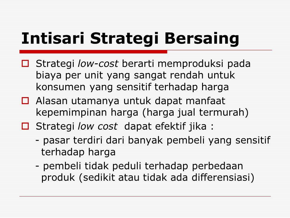 Intisari Strategi Bersaing  Strategi low-cost berarti memproduksi pada biaya per unit yang sangat rendah untuk konsumen yang sensitif terhadap harga