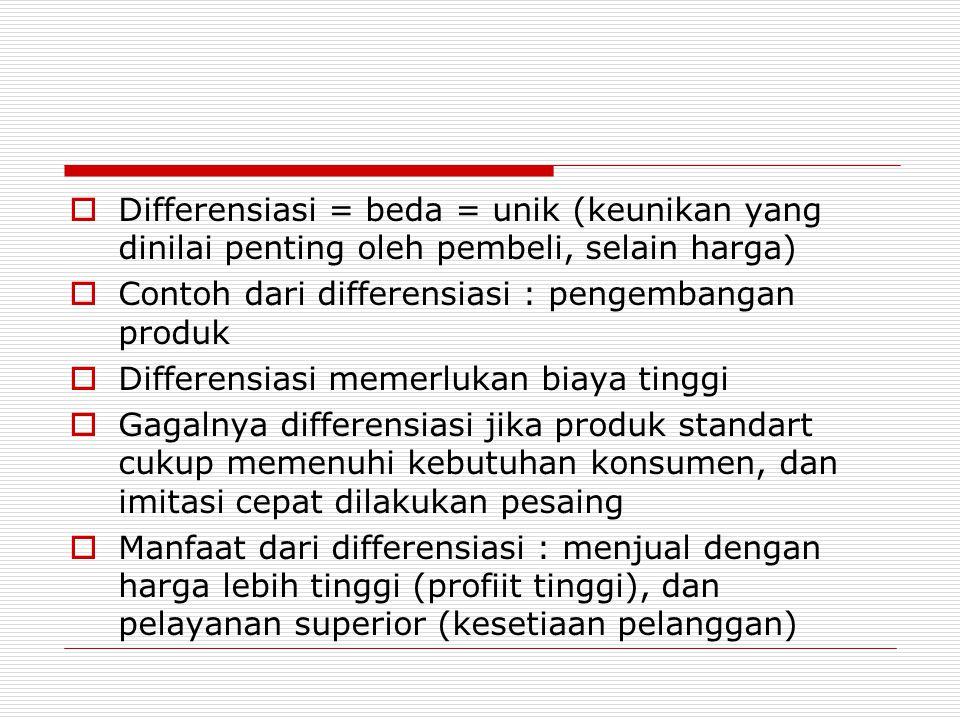  Differensiasi = beda = unik (keunikan yang dinilai penting oleh pembeli, selain harga)  Contoh dari differensiasi : pengembangan produk  Differens