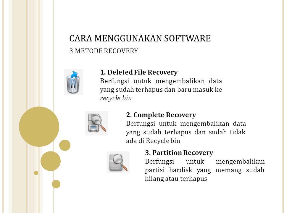 1. Deleted File Recovery Berfungsi untuk mengembalikan data yang sudah terhapus dan baru masuk ke recycle bin 2. Complete Recovery Berfungsi untuk men