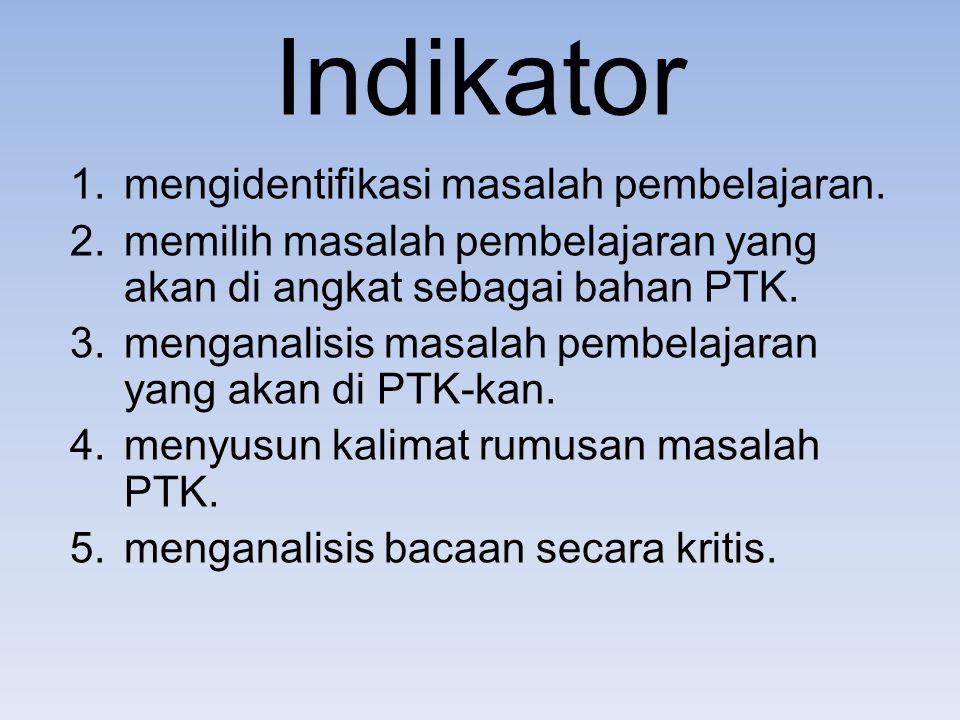 Indikator 1.mengidentifikasi masalah pembelajaran.