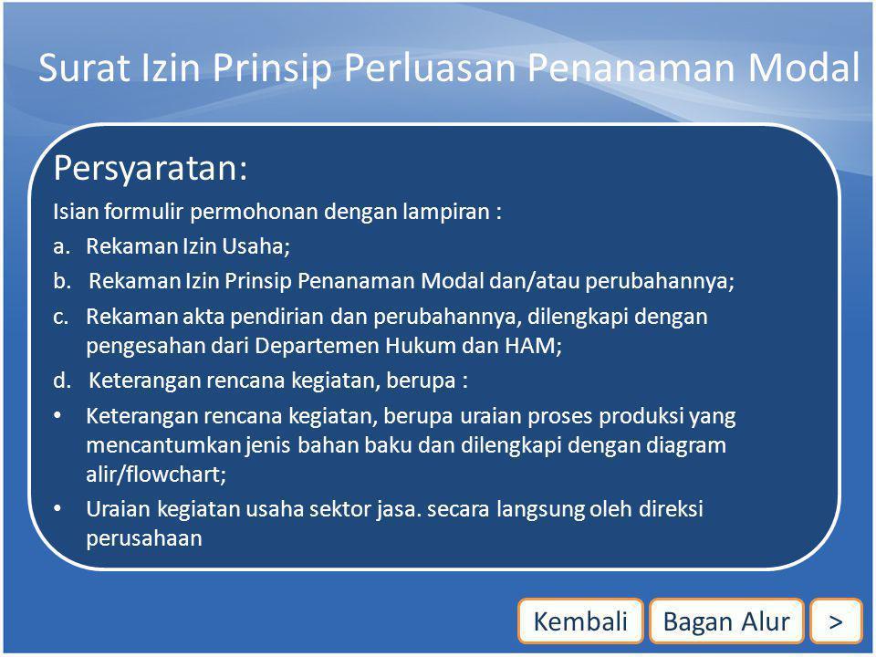 Surat Izin Prinsip Perluasan Penanaman Modal Persyaratan: Isian formulir permohonan dengan lampiran : a. Rekaman Izin Usaha; b. Rekaman Izin Prinsip P