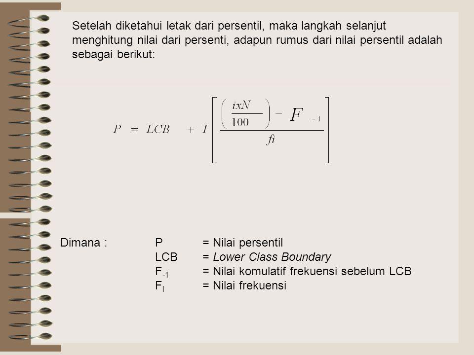 Setelah diketahui letak dari persentil, maka langkah selanjut menghitung nilai dari persenti, adapun rumus dari nilai persentil adalah sebagai berikut: Dimana :P = Nilai persentil LCB= Lower Class Boundary F -1 = Nilai komulatif frekuensi sebelum LCB F l = Nilai frekuensi