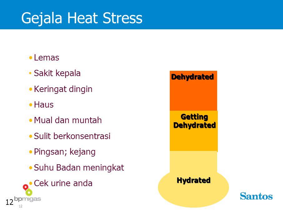 12 Gejala Heat StressDehydrated GettingDehydrated Hydrated Lemas Sakit kepala Keringat dingin Haus Mual dan muntah Sulit berkonsentrasi Pingsan; kejang Suhu Badan meningkat Cek urine anda