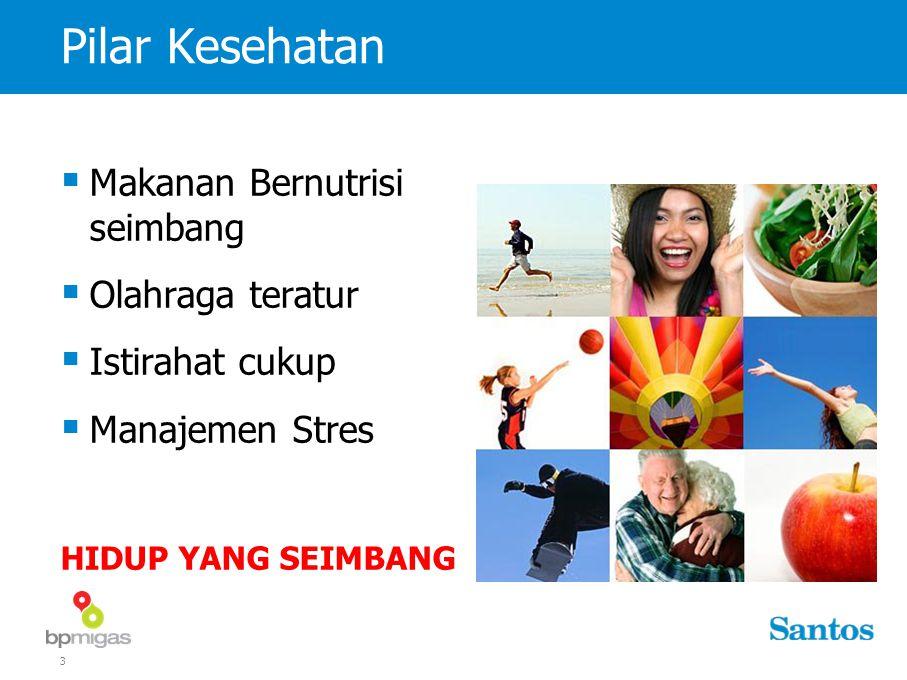 3 Pilar Kesehatan  Makanan Bernutrisi seimbang  Olahraga teratur  Istirahat cukup  Manajemen Stres HIDUP YANG SEIMBANG