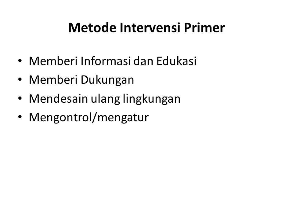 Metode Intervensi Primer Memberi Informasi dan Edukasi Memberi Dukungan Mendesain ulang lingkungan Mengontrol/mengatur