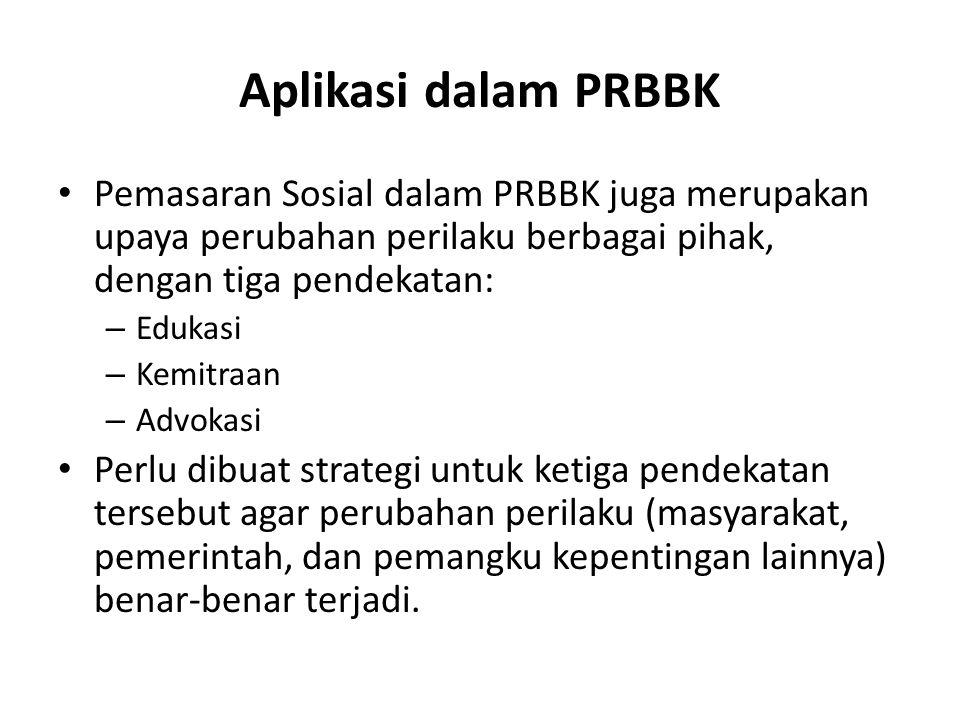 Aplikasi dalam PRBBK Pemasaran Sosial dalam PRBBK juga merupakan upaya perubahan perilaku berbagai pihak, dengan tiga pendekatan: – Edukasi – Kemitraan – Advokasi Perlu dibuat strategi untuk ketiga pendekatan tersebut agar perubahan perilaku (masyarakat, pemerintah, dan pemangku kepentingan lainnya) benar-benar terjadi.