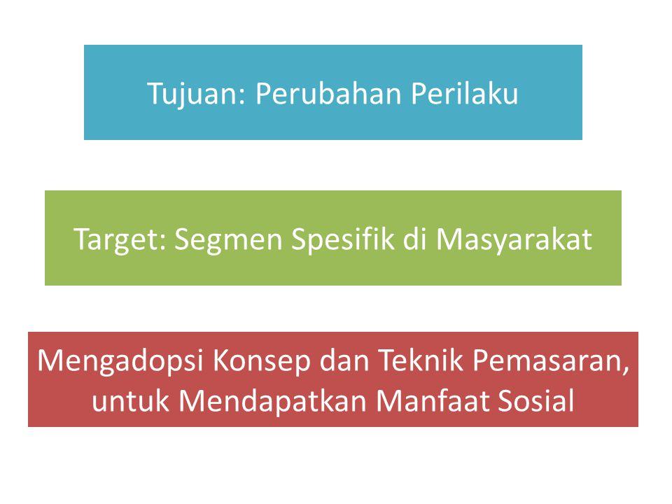 Tujuan: Perubahan Perilaku Target: Segmen Spesifik di Masyarakat Mengadopsi Konsep dan Teknik Pemasaran, untuk Mendapatkan Manfaat Sosial