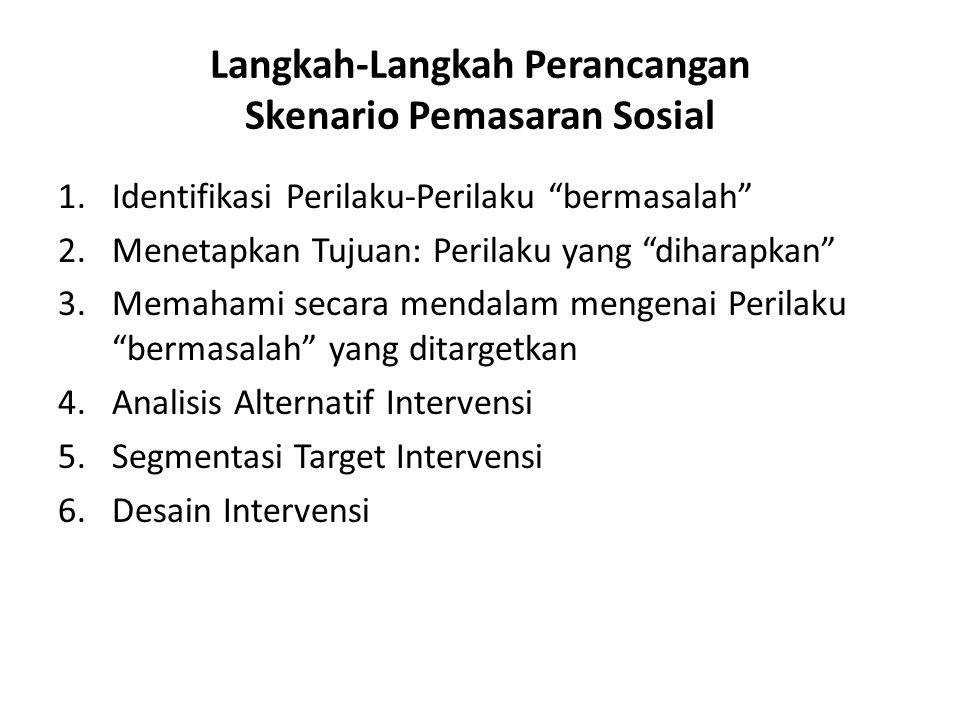 """Langkah-Langkah Perancangan Skenario Pemasaran Sosial 1.Identifikasi Perilaku-Perilaku """"bermasalah"""" 2.Menetapkan Tujuan: Perilaku yang """"diharapkan"""" 3."""