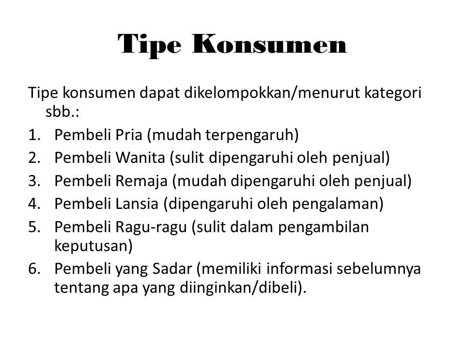 Tipe Konsumen Tipe konsumen dapat dikelompokkan/menurut kategori sbb.: 1.Pembeli Pria (mudah terpengaruh) 2.Pembeli Wanita (sulit dipengaruhi oleh pen