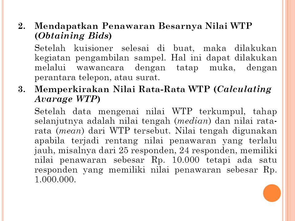 4.Memperkirakan Kurva WTP ( Estimating Bid Curve ) Sebuah kurva WTP dapat diperkirakan dengan menggunakan nilai WTP sebagai variabel dependen dan faktor-faktor yang mempengaruhi nilai tersebut sebagai variabel independen.