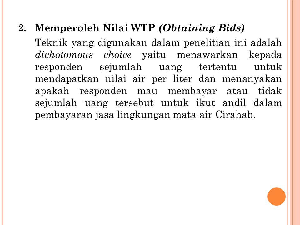 2. Memperoleh Nilai WTP (Obtaining Bids) Teknik yang digunakan dalam penelitian ini adalah dichotomous choice yaitu menawarkan kepada responden sejuml