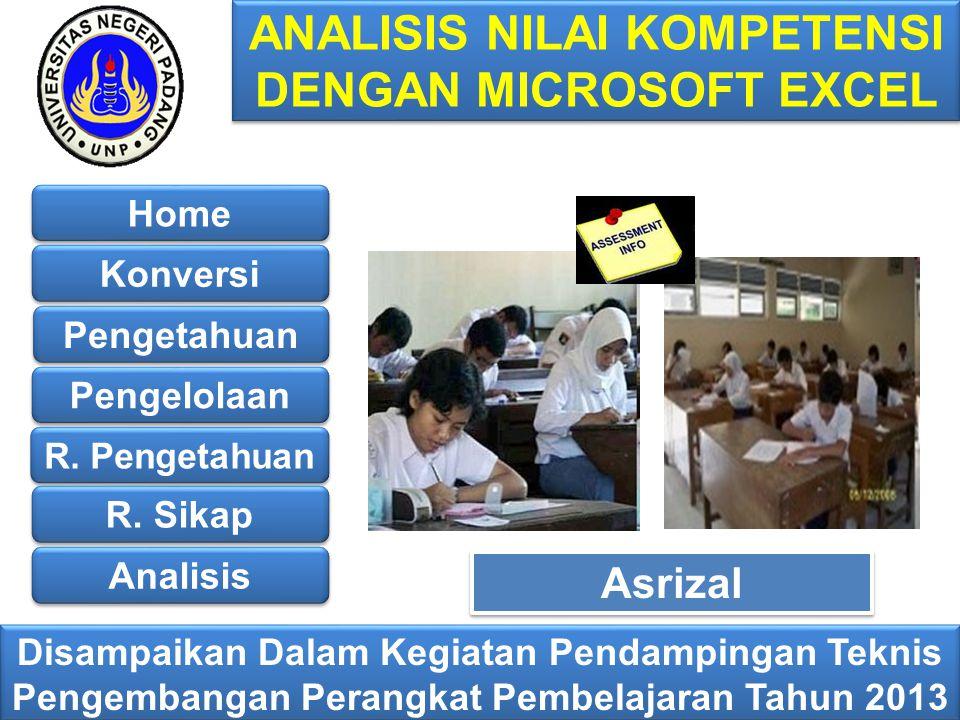 ANALISIS NILAI KOMPETENSI DENGAN MICROSOFT EXCEL Disampaikan Dalam Kegiatan Pendampingan Teknis Pengembangan Perangkat Pembelajaran Tahun 2013 Asrizal