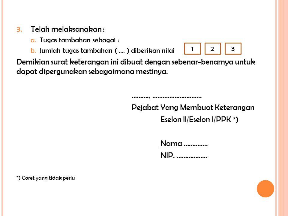 3.Telah melaksanakan : a.Tugas tambahan sebagai : b.Jumlah tugas tambahan ( …. ) diberikan nilai Demikian surat keterangan ini dibuat dengan sebenar-b