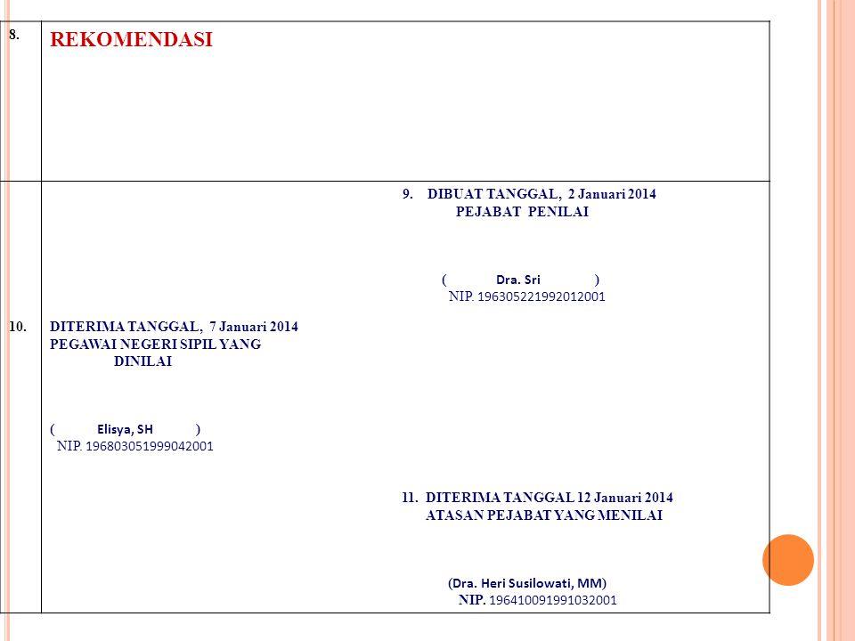 8. REKOMENDASI 9. DIBUAT TANGGAL, 2 Januari 2014 PEJABAT PENILAI ( Dra. Sri ) NIP. 196305221992012001 10.DITERIMA TANGGAL, 7 Januari 2014 PEGAWAI NEGE