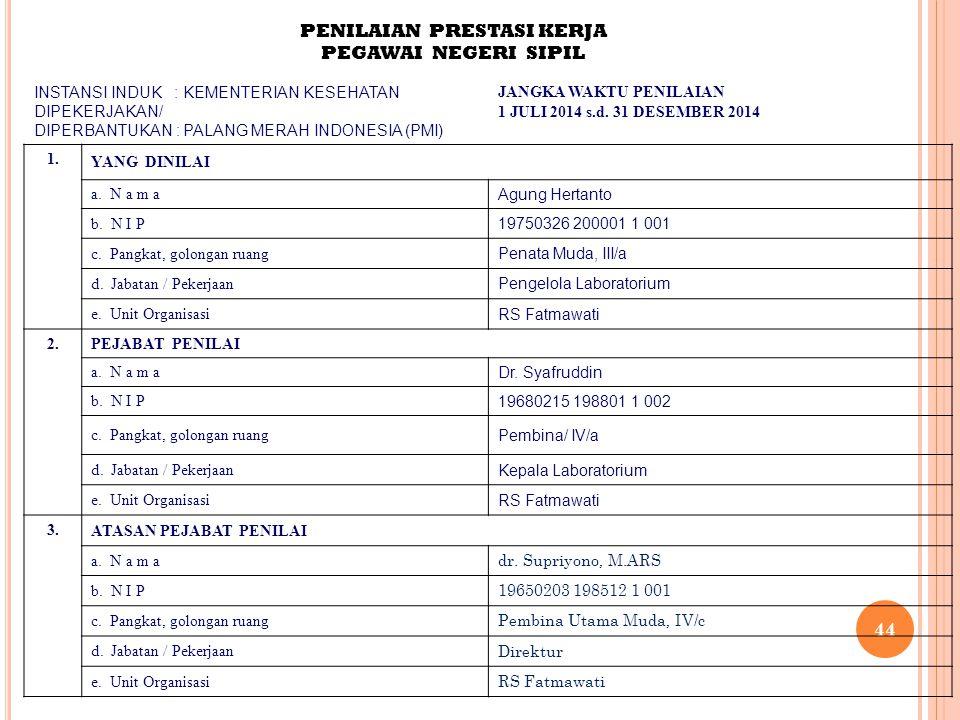 44 PENILAIAN PRESTASI KERJA PEGAWAI NEGERI SIPIL INSTANSI INDUK : KEMENTERIAN KESEHATAN DIPEKERJAKAN/ DIPERBANTUKAN : PALANG MERAH INDONESIA (PMI) JAN