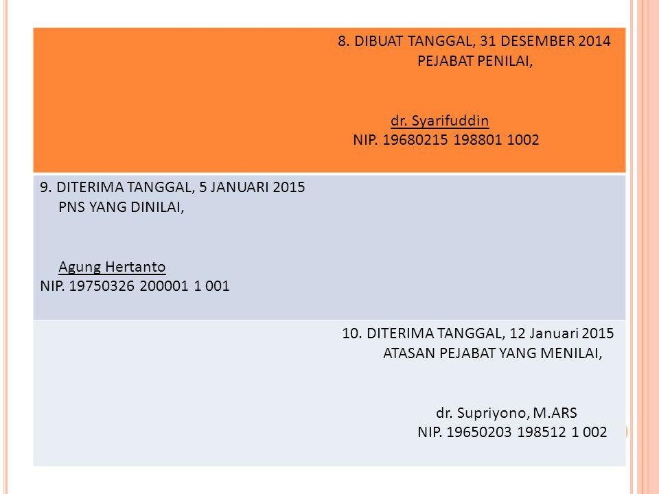 8. DIBUAT TANGGAL, 31 DESEMBER 2014 PEJABAT PENILAI, dr. Syarifuddin NIP. 19680215 198801 1002 9. DITERIMA TANGGAL, 5 JANUARI 2015 PNS YANG DINILAI, A