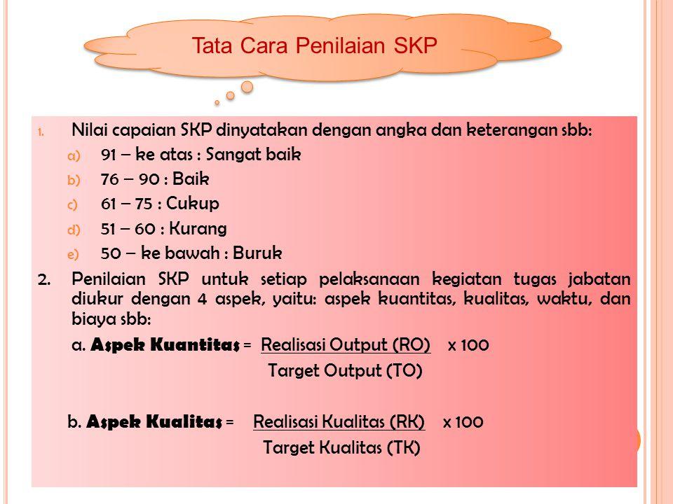 1. Nilai capaian SKP dinyatakan dengan angka dan keterangan sbb: a) 91 – ke atas : Sangat baik b) 76 – 90 : Baik c) 61 – 75 : Cukup d) 51 – 60 : Kuran