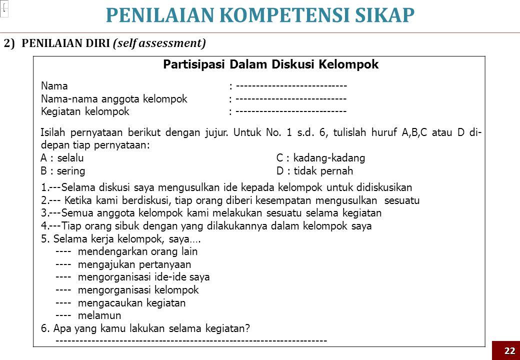 PENILAIAN KOMPETENSI SIKAP22 2)PENILAIAN DIRI (self assessment) Partisipasi Dalam Diskusi Kelompok Nama : ---------------------------- Nama-nama anggo