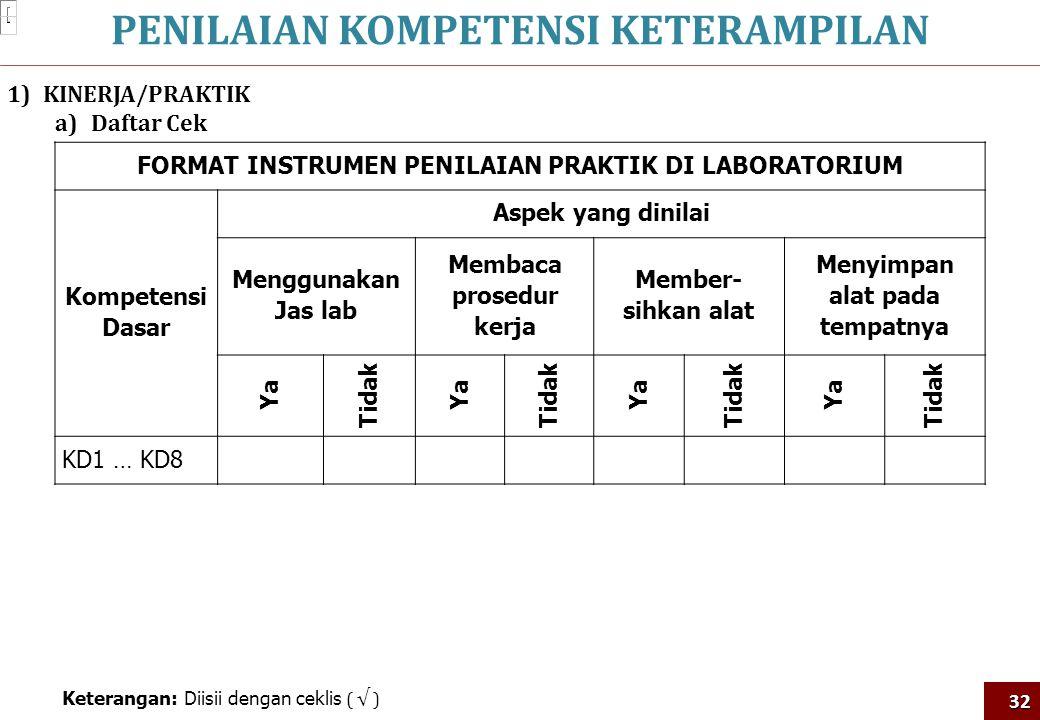 PENILAIAN KOMPETENSI KETERAMPILAN32 1)KINERJA/PRAKTIK a)Daftar Cek FORMAT INSTRUMEN PENILAIAN PRAKTIK DI LABORATORIUM Kompetensi Dasar Aspek yang dini