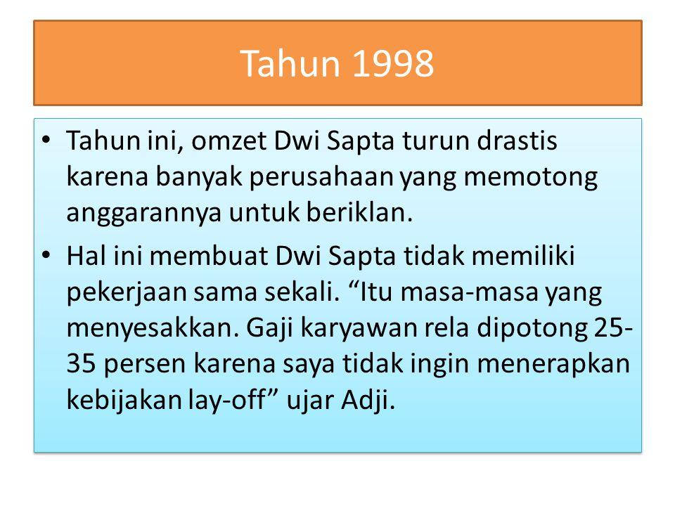 Tahun 1998 Tahun ini, omzet Dwi Sapta turun drastis karena banyak perusahaan yang memotong anggarannya untuk beriklan. Hal ini membuat Dwi Sapta tidak