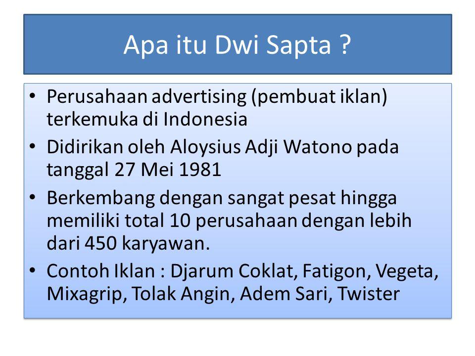 Apa itu Dwi Sapta ? Perusahaan advertising (pembuat iklan) terkemuka di Indonesia Didirikan oleh Aloysius Adji Watono pada tanggal 27 Mei 1981 Berkemb