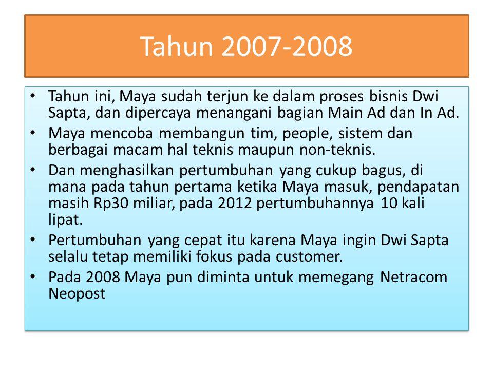 Tahun 2007-2008 Tahun ini, Maya sudah terjun ke dalam proses bisnis Dwi Sapta, dan dipercaya menangani bagian Main Ad dan In Ad. Maya mencoba membangu