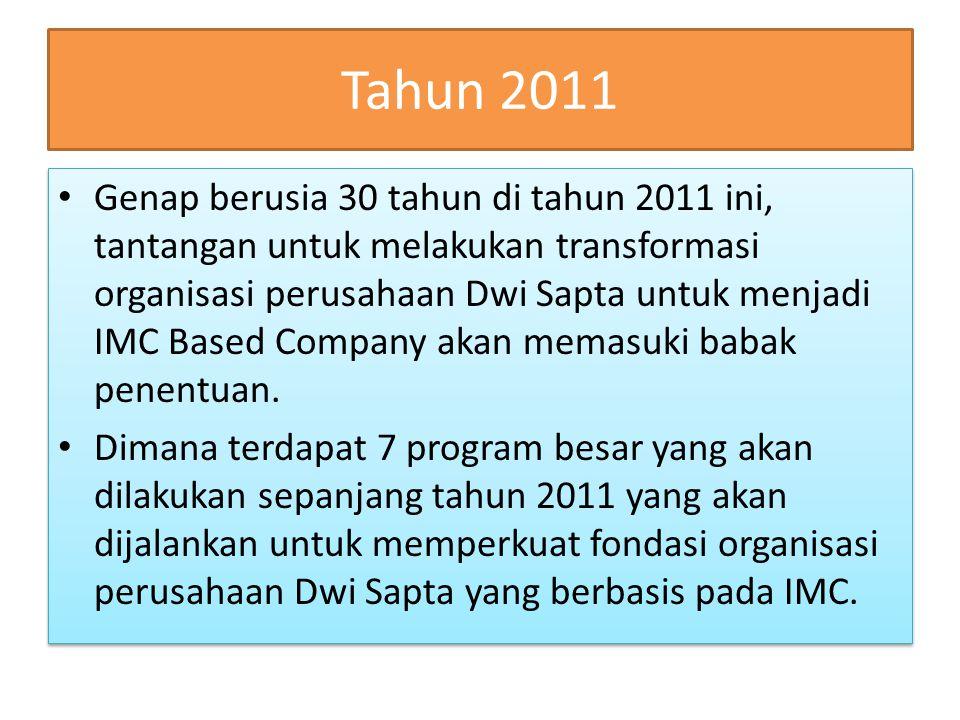 Tahun 2011 Genap berusia 30 tahun di tahun 2011 ini, tantangan untuk melakukan transformasi organisasi perusahaan Dwi Sapta untuk menjadi IMC Based Company akan memasuki babak penentuan.