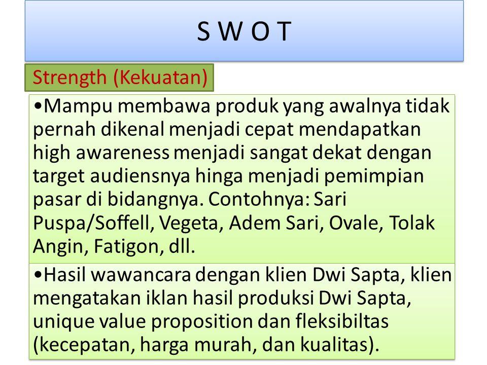 S W O T Strength (Kekuatan) Mampu membawa produk yang awalnya tidak pernah dikenal menjadi cepat mendapatkan high awareness menjadi sangat dekat dengan target audiensnya hinga menjadi pemimpian pasar di bidangnya.
