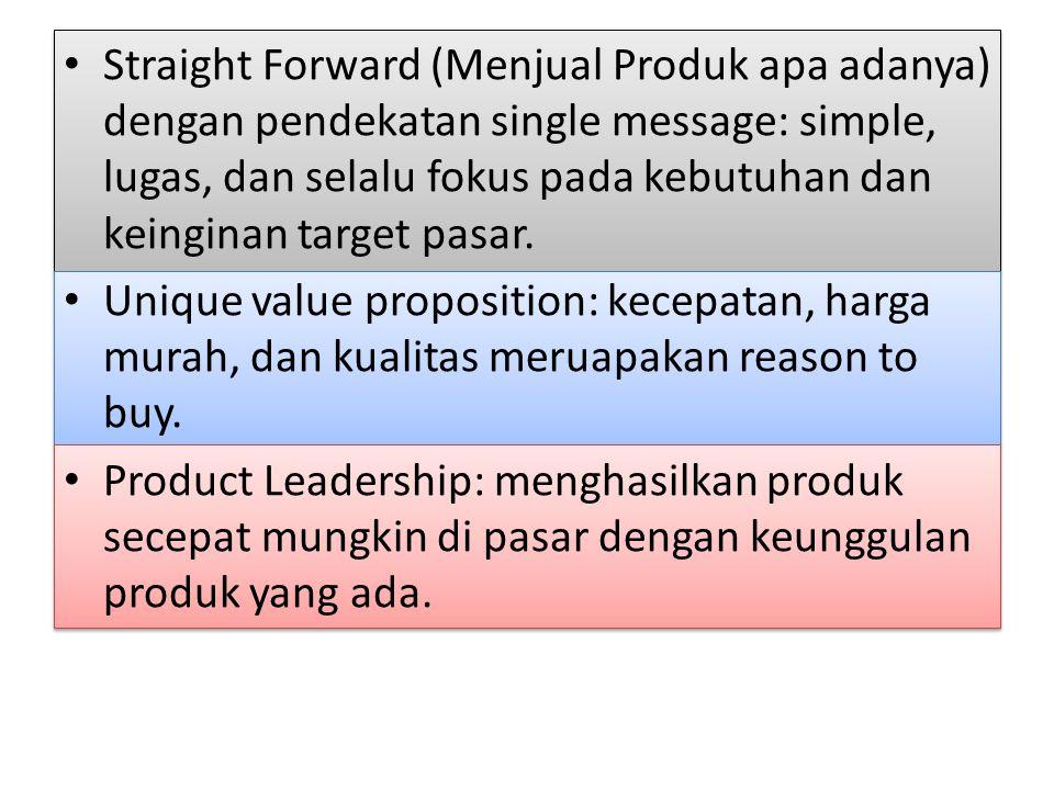 Straight Forward (Menjual Produk apa adanya) dengan pendekatan single message: simple, lugas, dan selalu fokus pada kebutuhan dan keinginan target pasar.