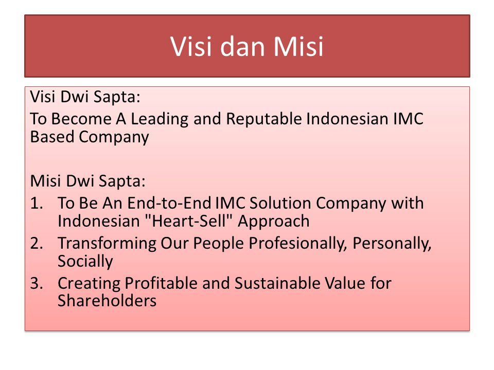 Core Values Dwi Sapta 1.Give to Society 2. Care to Our People 3.