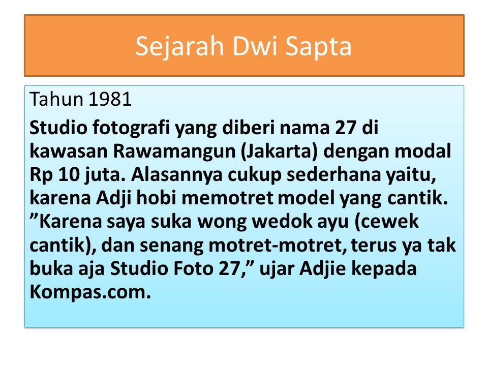 Sejarah Dwi Sapta Tahun 1981 Studio fotografi yang diberi nama 27 di kawasan Rawamangun (Jakarta) dengan modal Rp 10 juta. Alasannya cukup sederhana y