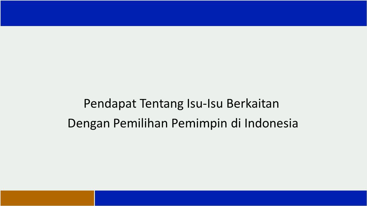 Pendapat Tentang Isu-Isu Berkaitan Dengan Pemilihan Pemimpin di Indonesia
