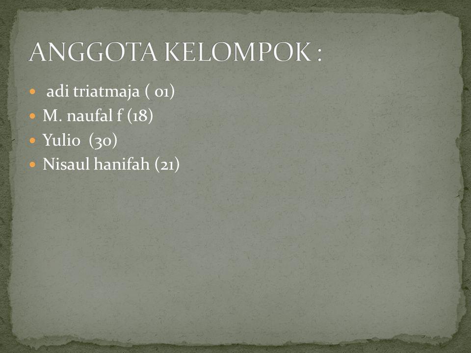 adi triatmaja ( 01) M. naufal f (18) Yulio (30) Nisaul hanifah (21)
