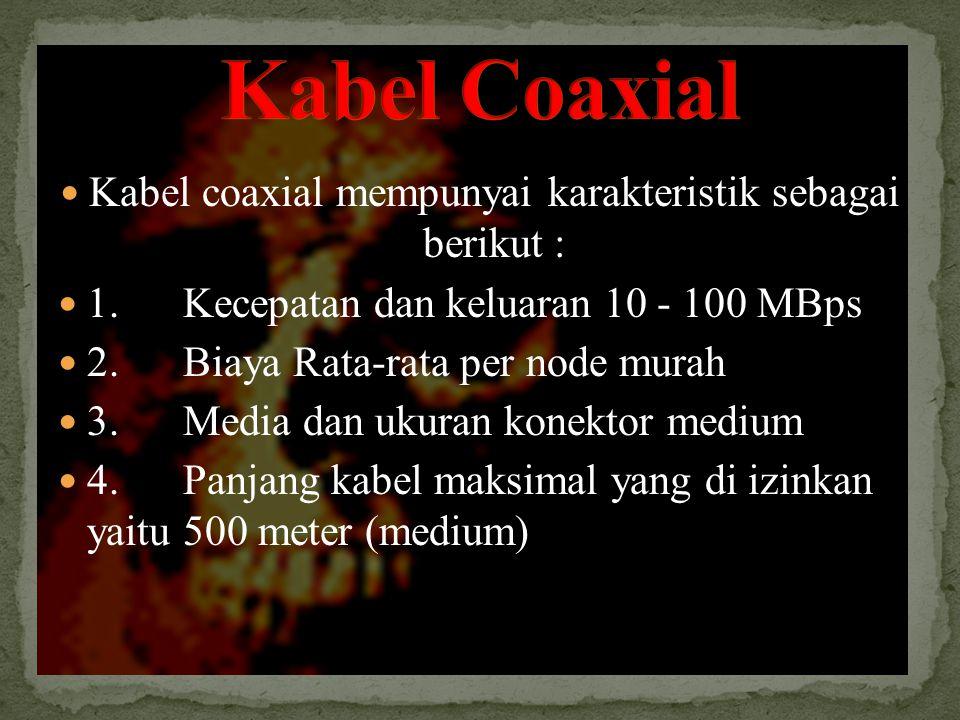 Kabel coaxial mempunyai karakteristik sebagai berikut : 1.