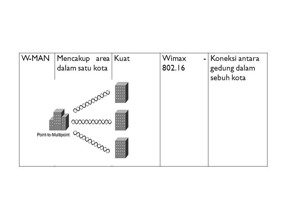 W-MANMencakup area dalam satu kota KuatWimax - 802.16 Koneksi antara gedung dalam sebuh kota
