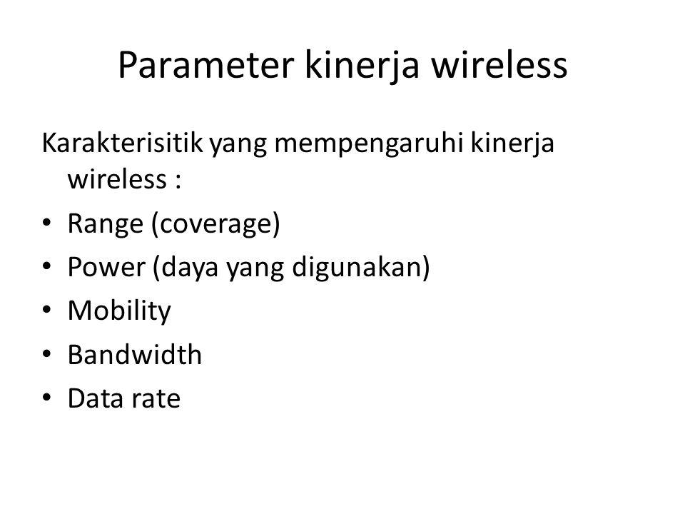 Parameter kinerja wireless Karakterisitik yang mempengaruhi kinerja wireless : Range (coverage) Power (daya yang digunakan) Mobility Bandwidth Data ra