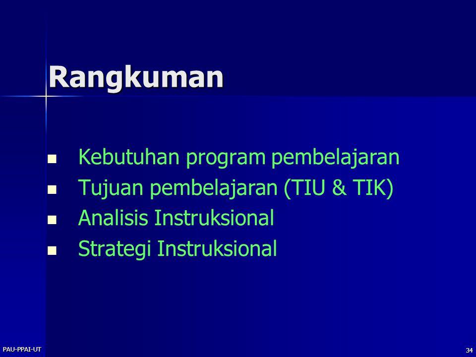 PAU-PPAI-UT 33 Metode Instruksional Media Instruksional STRATEGI INSTRUKSIONAL Urutan Kegiatan Instruksional Waktu untuk mencapai tujuan instruksional