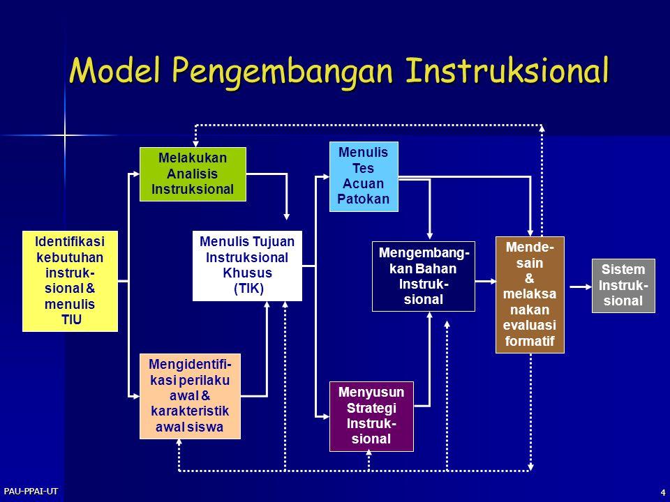 PAU-PPAI-UT 3 Kegiatan Instruksional Pengembangan Instruksional Pelaksanaan Kegiatan Instruksional Evaluasi Instruksional Tahap I Tahap II Tahap III