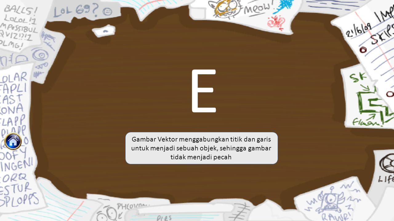 E Gambar Vektor menggabungkan titik dan garis untuk menjadi sebuah objek, sehingga gambar tidak menjadi pecah
