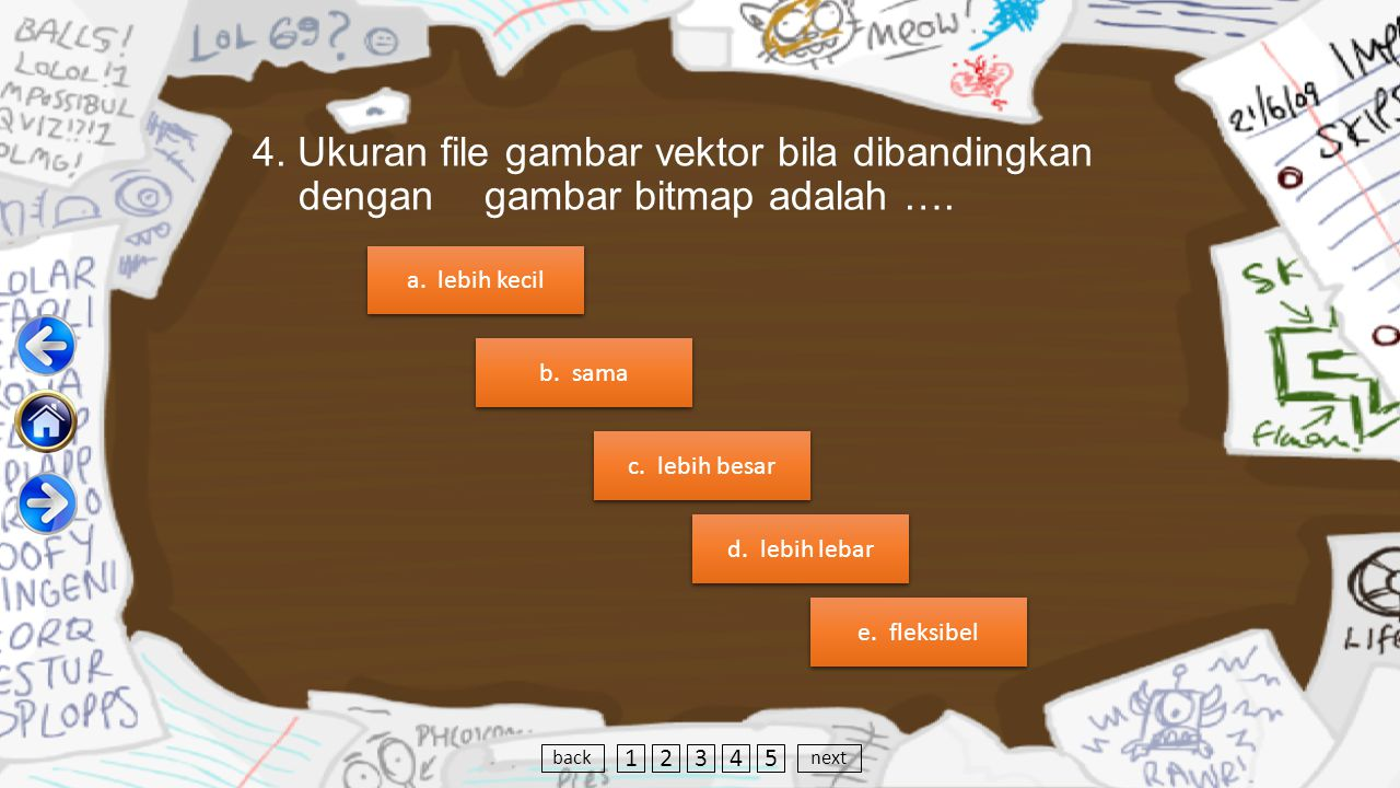 4.Ukuran file gambar vektor bila dibandingkan dengan gambar bitmap adalah ….