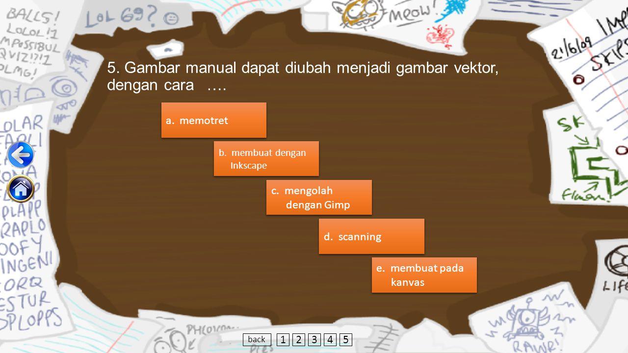 5.Gambar manual dapat diubah menjadi gambar vektor, dengan cara ….