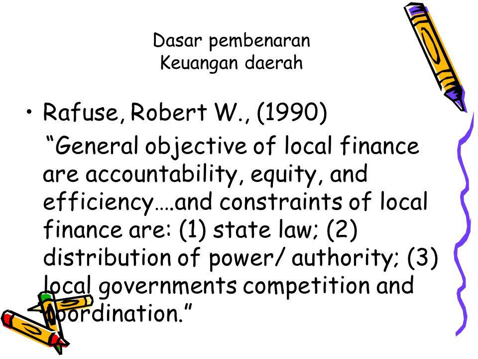 Lanjutan Para pakar seperti Kaho, Rondinelli dan Cheema, Smith, dan Hoessein seringkali mengatakan bahwa faktor keuangan menjadi penentu keberhasilan kebijakan desentralisasi.