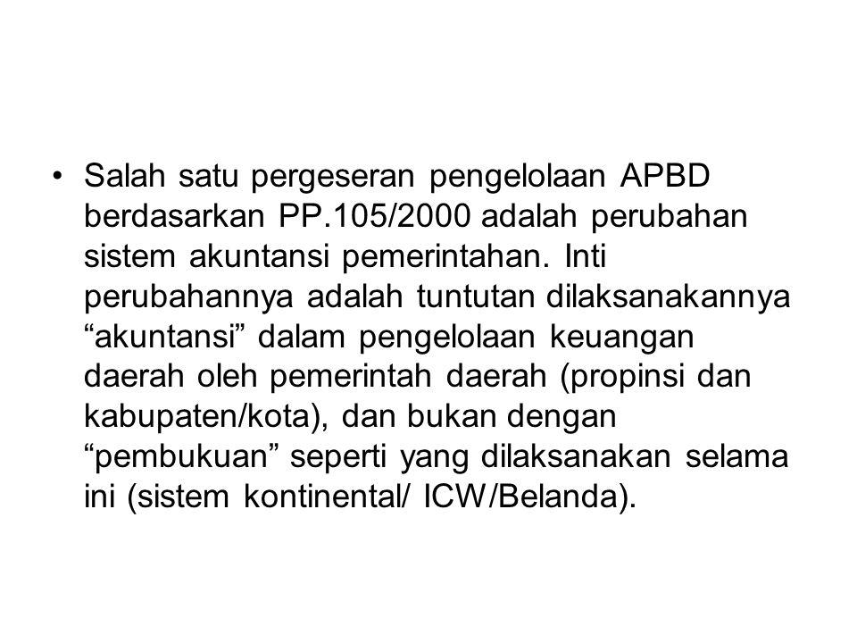 Salah satu pergeseran pengelolaan APBD berdasarkan PP.105/2000 adalah perubahan sistem akuntansi pemerintahan.