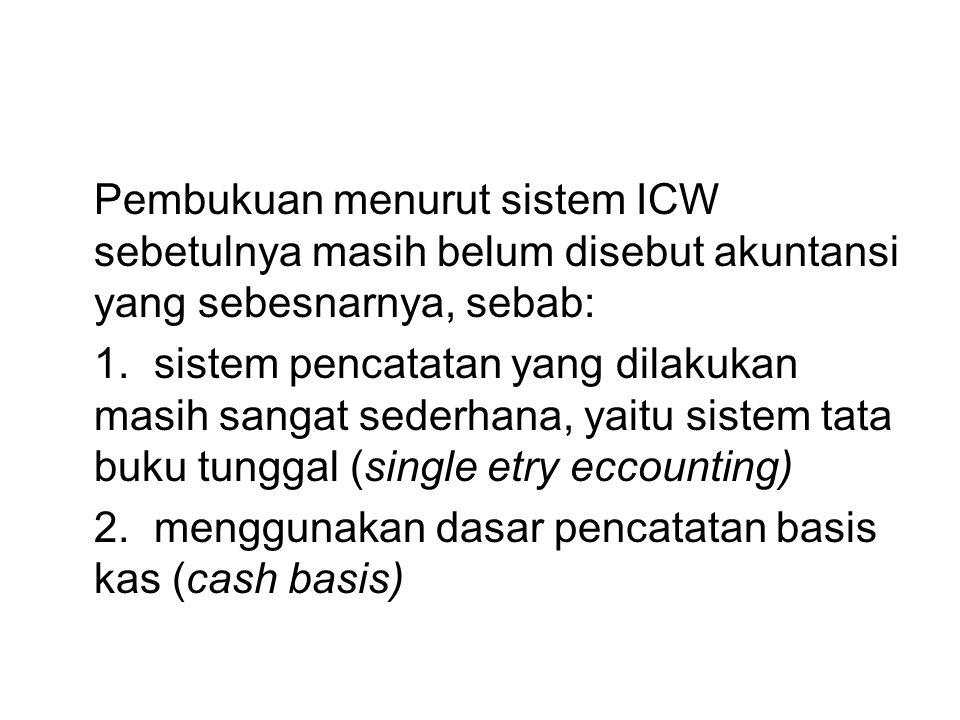 Pembukuan menurut sistem ICW sebetulnya masih belum disebut akuntansi yang sebesnarnya, sebab: 1.