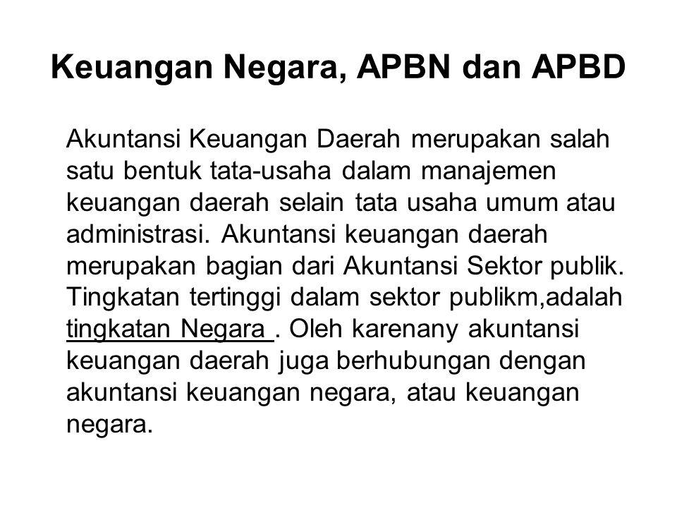 Keuangan Negara, APBN dan APBD Akuntansi Keuangan Daerah merupakan salah satu bentuk tata-usaha dalam manajemen keuangan daerah selain tata usaha umum atau administrasi.