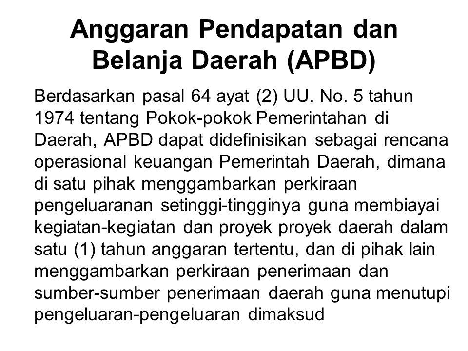APBD adalah Anggaran Daerah, yang memiliki unsur-unsur sebagai berikut: 1.rencana kegiatan suatu daerah, beserta uraiannya secara rinci 2.adanya sumber penerimaan yang merupakan target minimal untuk menutupi biaya-biaya sehubungan dengan aktivitas-aktivitas tresebut, dan adanya biaya-biaya yang merupakan batas maksimal pengeluaran 3.jenis kegiatan dan proyek yang dituangkan dalam bentuk angka 4.periode anggaran, biasanya satu tahun (Indonesia: 1 Januari s/d 31 Desember