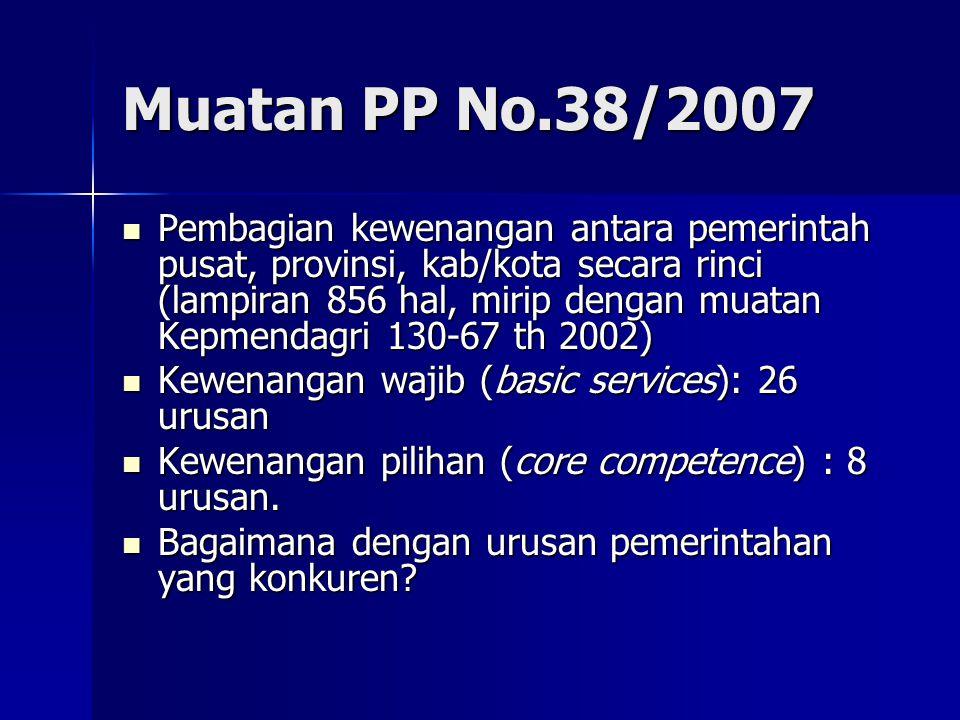 Muatan PP No.38/2007 Pembagian kewenangan antara pemerintah pusat, provinsi, kab/kota secara rinci (lampiran 856 hal, mirip dengan muatan Kepmendagri