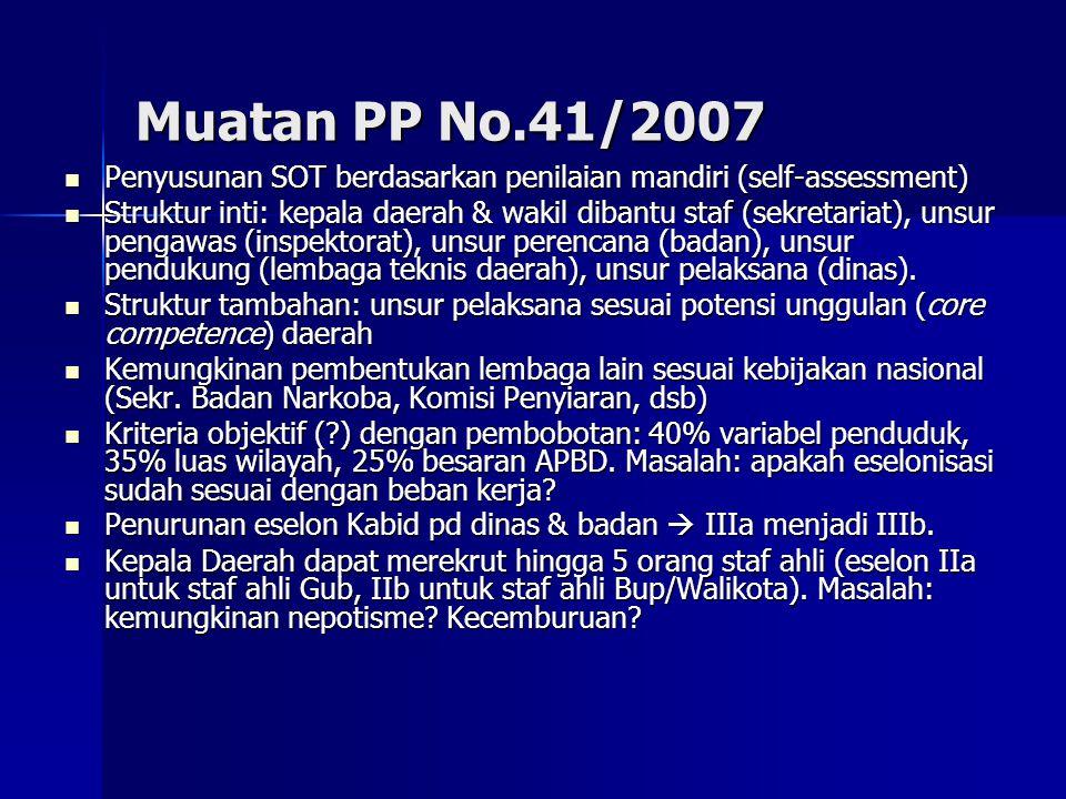Muatan PP No.41/2007 Penyusunan SOT berdasarkan penilaian mandiri (self-assessment) Penyusunan SOT berdasarkan penilaian mandiri (self-assessment) Str