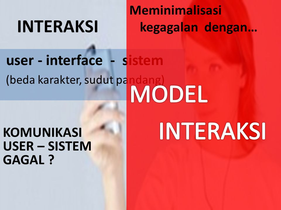 INTERAKSI user - interface - sistem (beda karakter, sudut pandang) KOMUNIKASI USER – SISTEM GAGAL ?